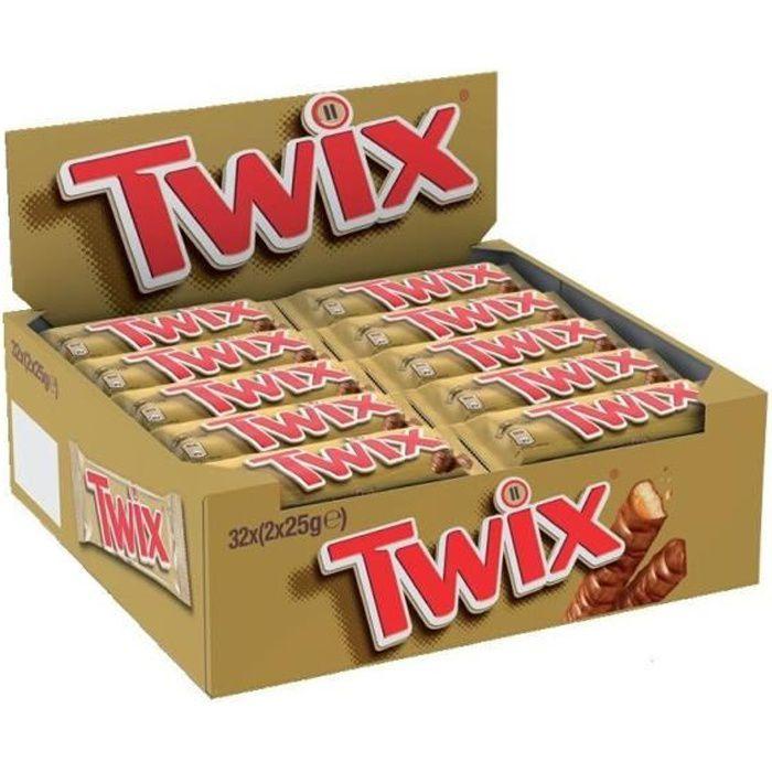 TWIX Pack de 2 barres chocolatées - 32x 50 g