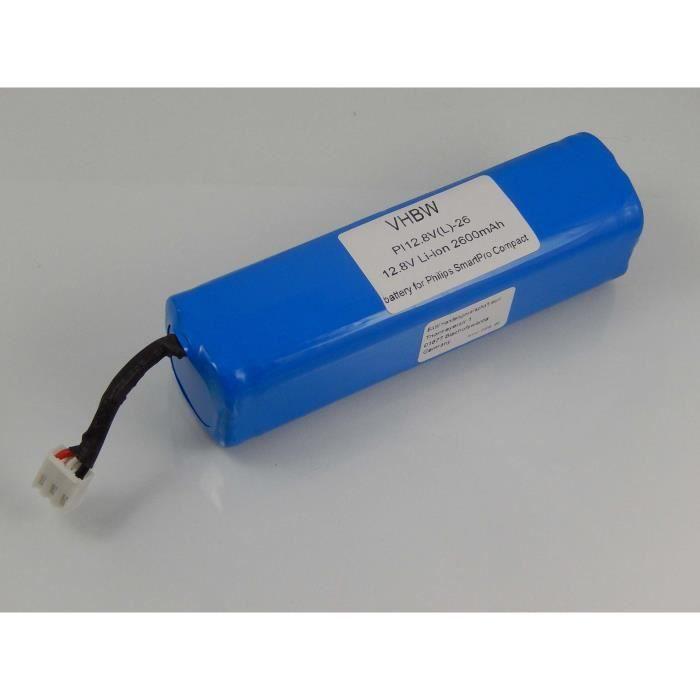 vhbw Li-Ion batterie 2600mAh pour robot aspirateur Philips Smartpro Compact FC8710