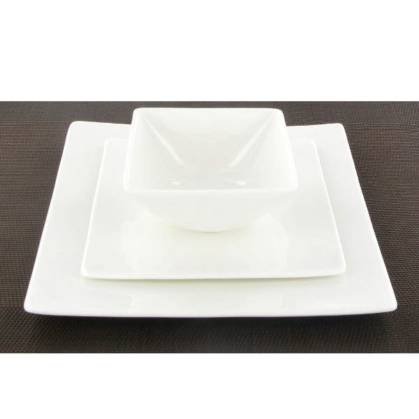assiette dessert carr e blanche fine bone china achat vente service complet cdiscount. Black Bedroom Furniture Sets. Home Design Ideas