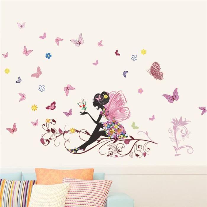STICKERS lingzhishop,56593-Belle Fille Papillon Fleur Art M