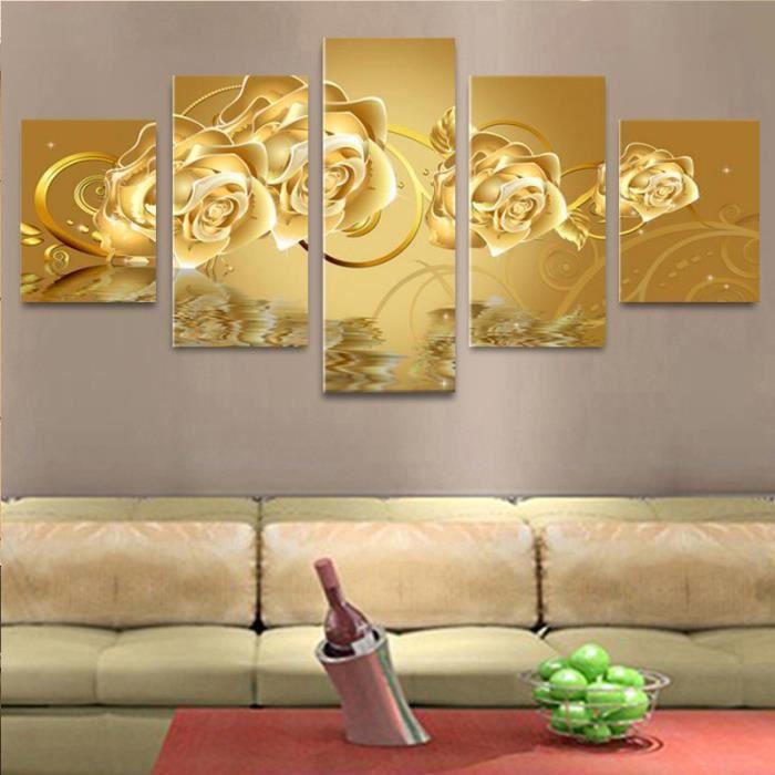 5 Pièces Toile Art Doré Fleur Toile Peinture à L Huile Pour Salon Mur Art Photo Home Decor Toile Peinture Sans Cadre