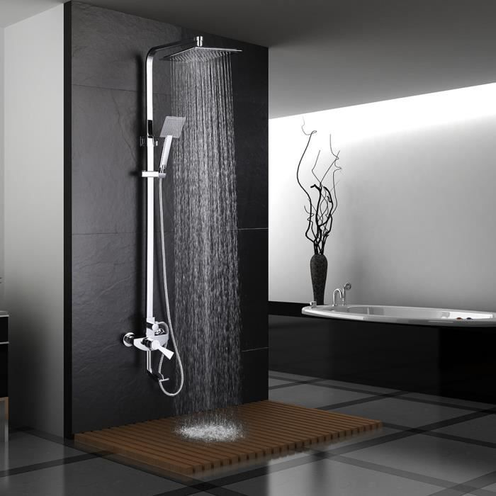 colone de douche ensemble de douche douchette robinet de salle de bain t te de douche carr. Black Bedroom Furniture Sets. Home Design Ideas