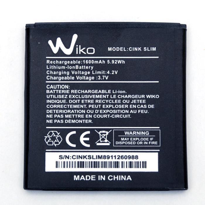 Wiko Cink Slim, Batterie de Remplacement d'origine