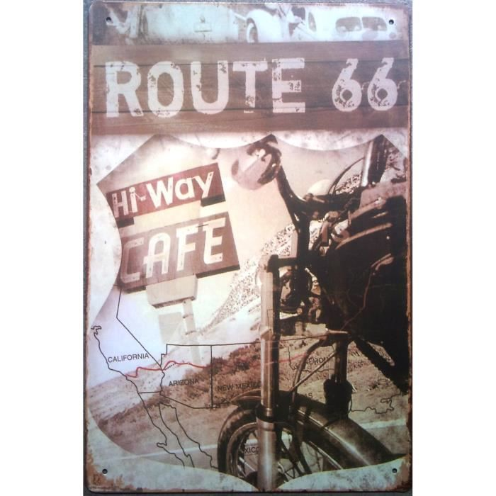 Plaque hi way cafe route 66 d co de bar usa loft achat for Decoration murale usa