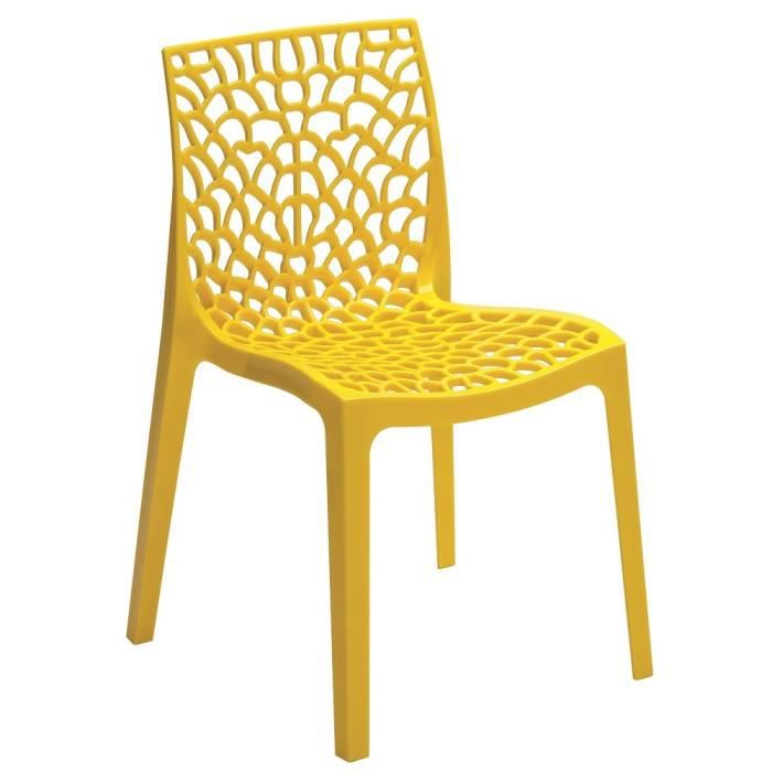 Chaise design gruyere jaune lot de 2 achat vente for Designer de chaise celebre