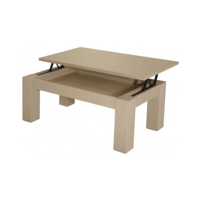 Table basse l vatrice ch ne blanc pierre achat vente for Table basse blanc et chene