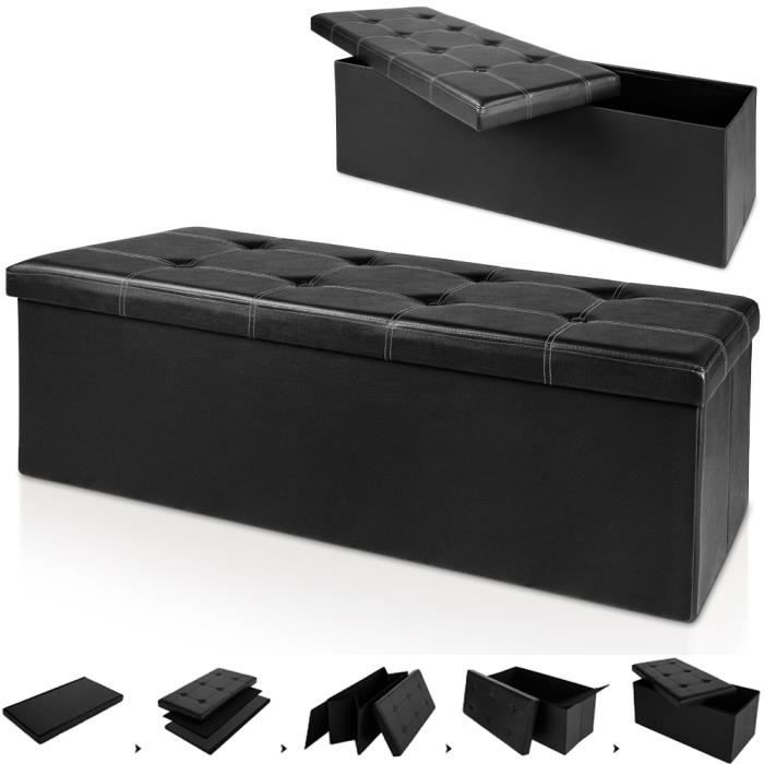 banc pliable en mdf avec rangement si ge repose pied pouf 114x40x40cm noir achat vente. Black Bedroom Furniture Sets. Home Design Ideas