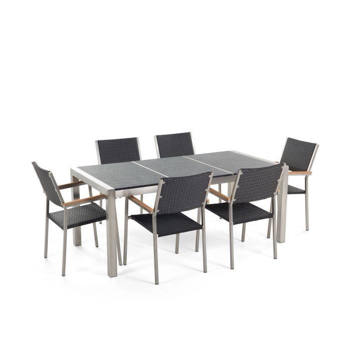 Table de jardin acier inox - plateau granit triple noir ...