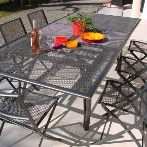 table aluminium perfor e rallonge papillon 180 240 achat vente table de jardin table. Black Bedroom Furniture Sets. Home Design Ideas