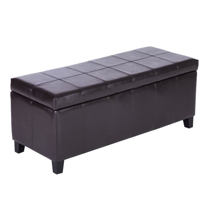 banc banquette coffre de rangement tabouret pu achat vente banc marron cdiscount. Black Bedroom Furniture Sets. Home Design Ideas