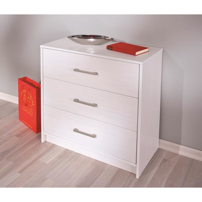 commode contemporaine 3 tiroirs coloris blanc new look achat vente commode de chambre. Black Bedroom Furniture Sets. Home Design Ideas