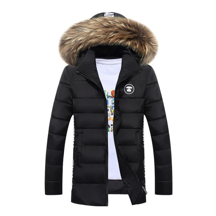 doudoune homme manteau capuche fourrure parka p noir achat vente doudoune cdiscount. Black Bedroom Furniture Sets. Home Design Ideas