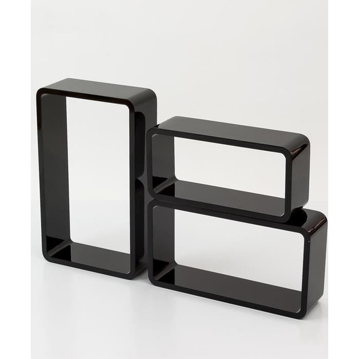 tag re cube murale de 3 pi ces noir achat vente. Black Bedroom Furniture Sets. Home Design Ideas