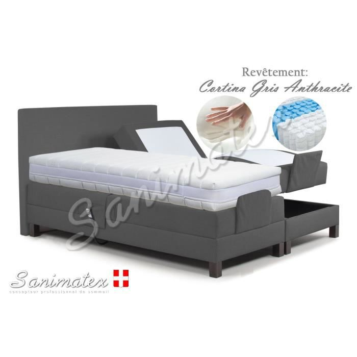 lit electrique boxspring 140x190 vesuvio amazonia gris anthracite achat vente lit complet. Black Bedroom Furniture Sets. Home Design Ideas