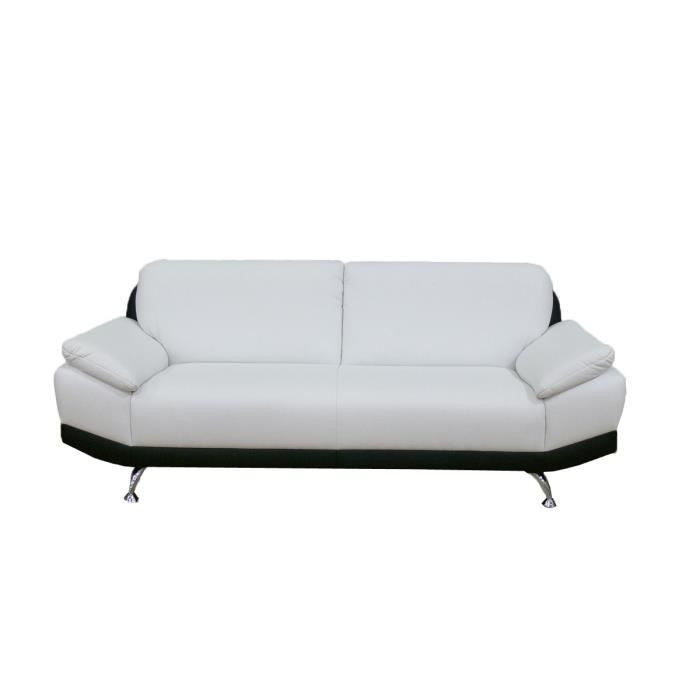Canap fixe 2 places switsofa city noir blanc achat vente canap sofa - Canape 2 places fixe ...