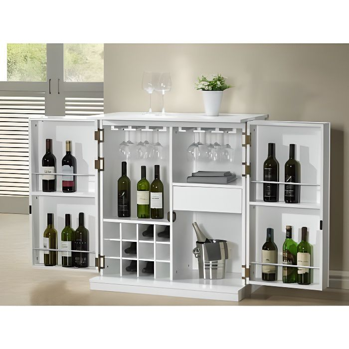 meuble de bar gordon h v a mdf coloris blanc achat. Black Bedroom Furniture Sets. Home Design Ideas