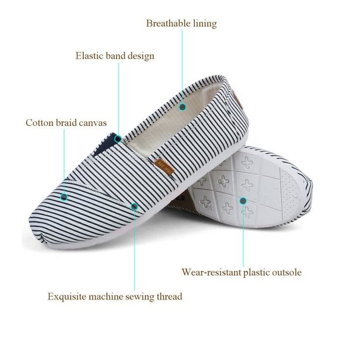 Comfort Flat Shoes For And Women, Classic Casual Canvas Slip On Flats TKJ01 Taille-37