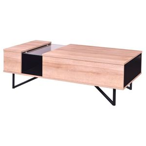 TABLE BASSE ISANO Table basse vintage décor chêne + pieds en m