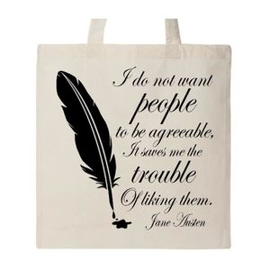 ACCROCHE-SAC Women's Jane Austen quote Agreeable people Tote Ba