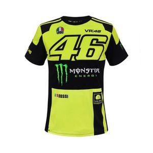 VR46 Valentino Rossi 46 Yamaha Noir de Course T-Shirt Hommes Noir//Jaune