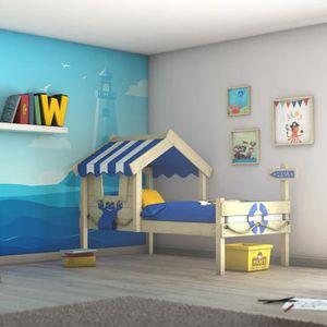 LIT MEZZANINE WICKEY Crazy Sharky Lit pour enfant en bois 90x200