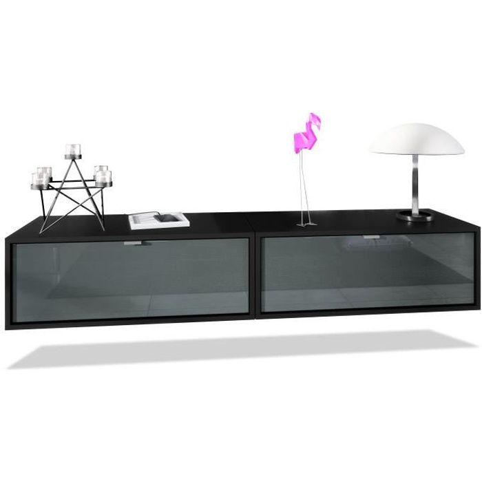Ensemble de 2 set meuble TV Lana 80 armoire murale lowboard 80 x 29 x 37 cm, caisson en noir mat, façades en Gris haute brillance