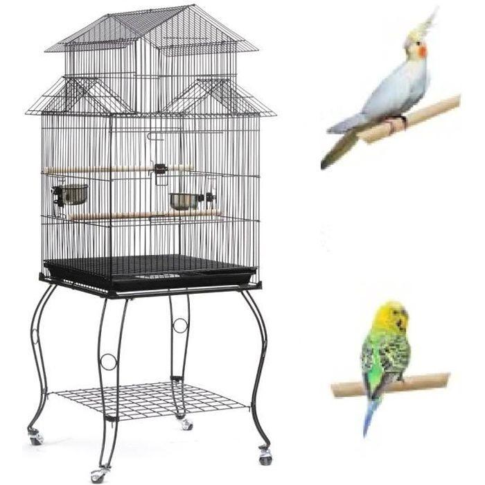 YGONGMYL Cage Oiseaux pour Canaris Perruches Calopsittes - Grande Volière à Roulettes - Noir 59 x59 x139.5 cm