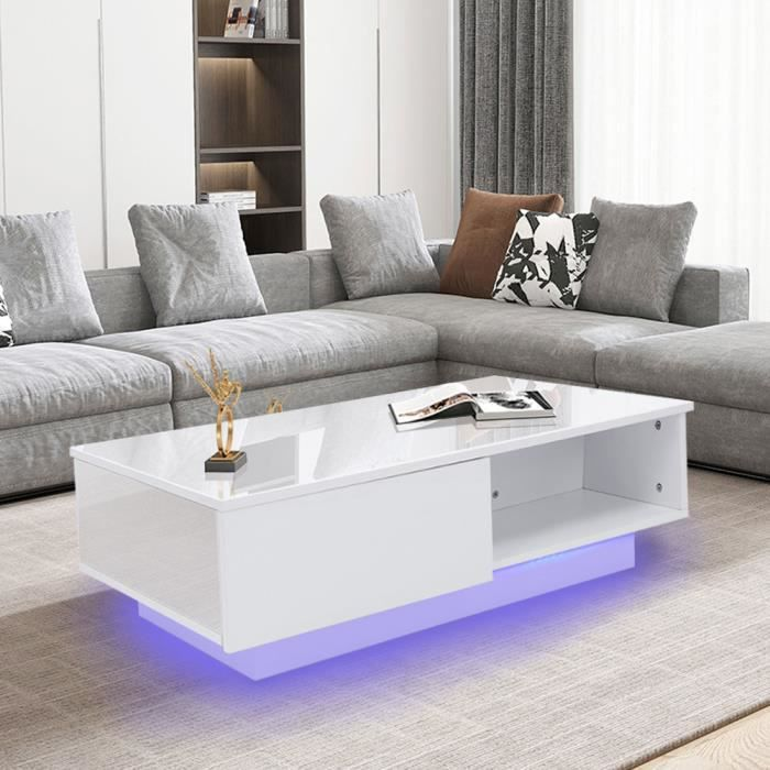 QID® Table basse LED peinture blanche Table de rangement de salon