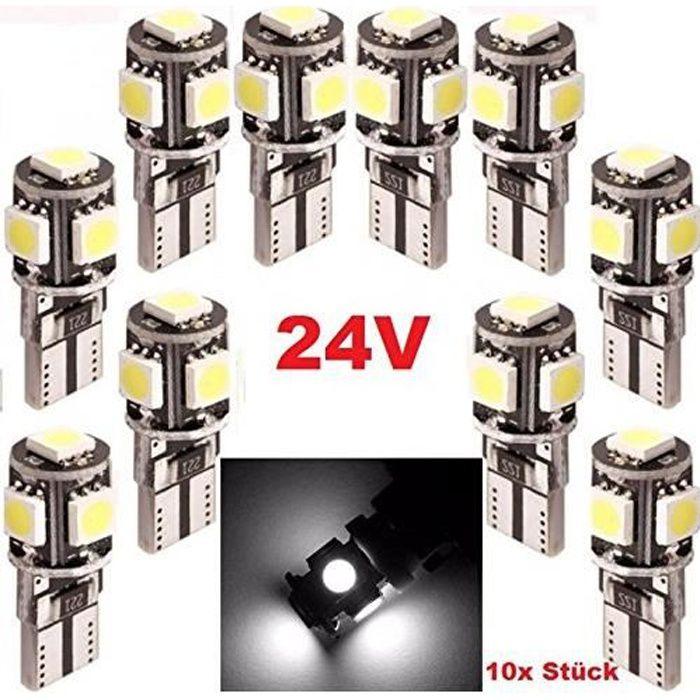 Ampoule LED T10 24V W5W 5 leds SMD Xenon Blanc LED pour Camion 4X4 Bateau