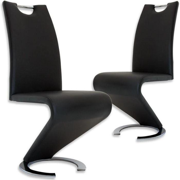 Lot de 2 chaises design en simili cuir noir KIZA