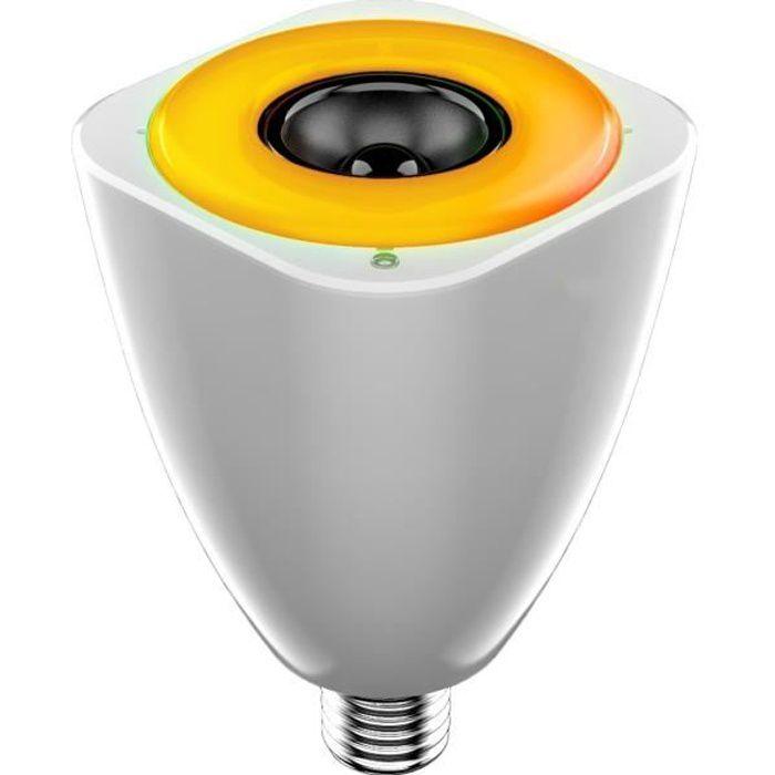 AWOX Ampoule E27 LED Couleur connectée SLC-W13-E27 + Enceinte musicale Wifi