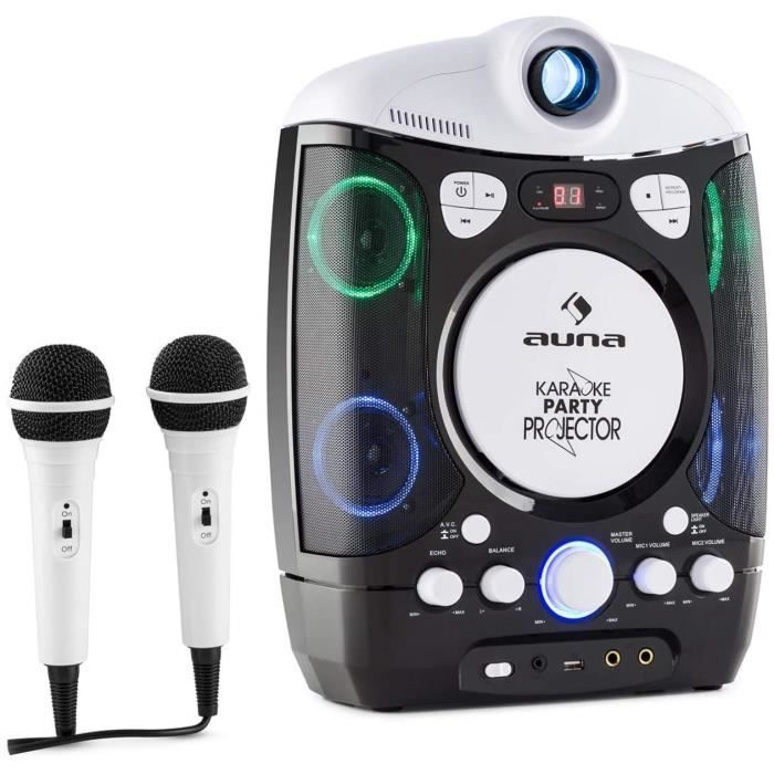 AUNA Kara Projectura - Karaoké 2-en-1, LCD vidéo projecteur, 2 micros, Lecteur CD+G, Port USB, MP3 Compatible, Fonction A.V.C, [28]