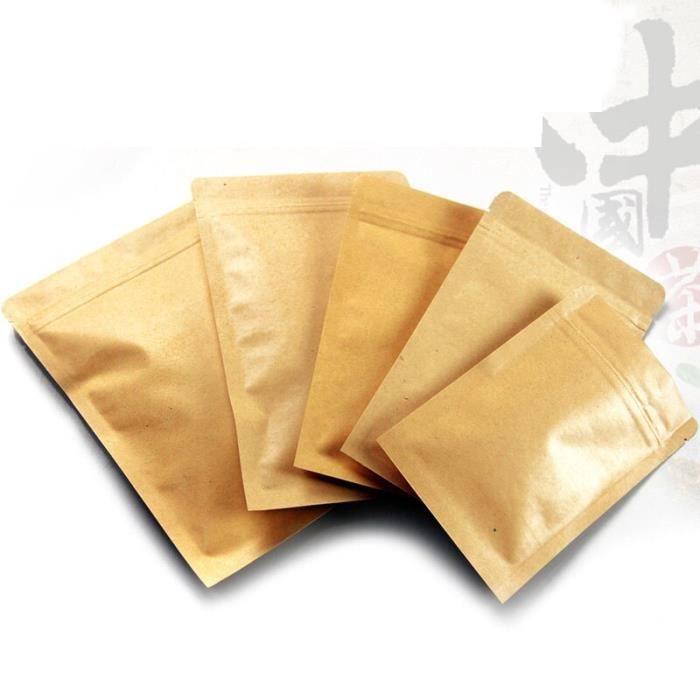 Papier Alimentaire,Sacs d'emballage en papier Kraft personnalisés avec fermeture à glissière, impression - Type BEIGE