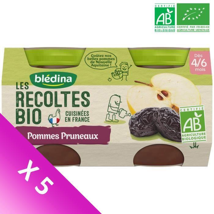 Blédina Les Récoltes Bio, Petits pots pour bébé Bio - Dès 4/6 mois - Pommes Pruneaux - Lot de 5 x 260 g