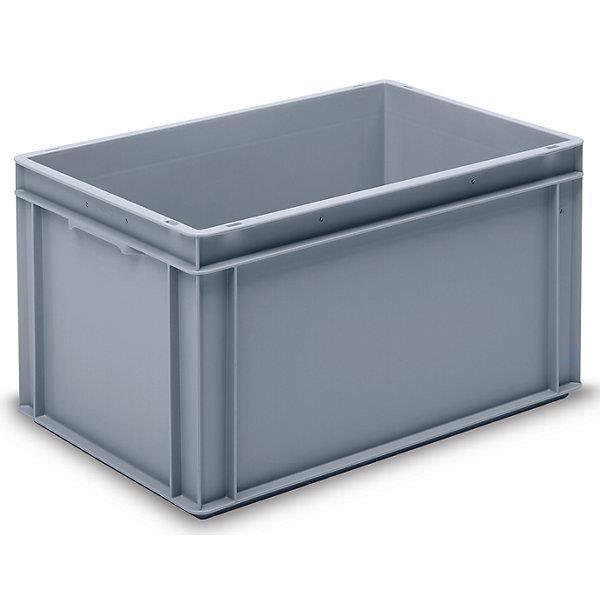 Bac gerbable Europe en PP qualité alimentaire - charge max. 20 kg, gris argenté capacité 60 l, hauteur extérieure 325 mm, lot de 2 -