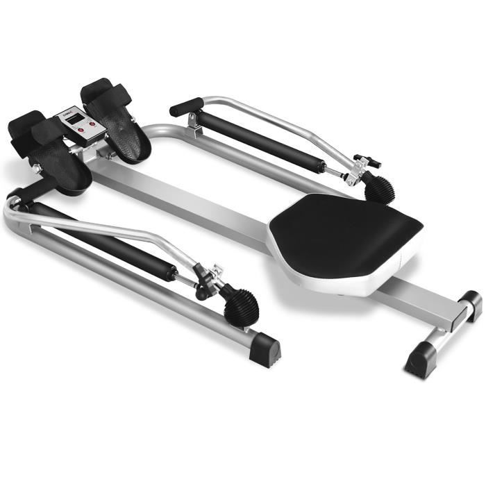 COSTWAY Rameur de Fitness Pliable Résistance Hydraulique Réglable 50kg Affichage LCD Pédale Antidérapante Charge de 100 kg Argenté