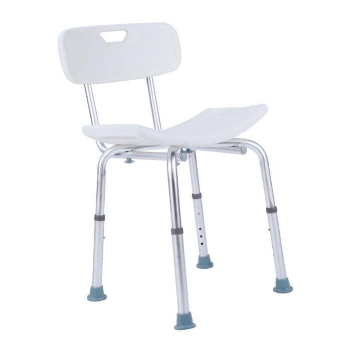 Chaise de douche siège de douche ergonomique hauteur réglable pieds antidérapants charge - max. 150 Kg - blanche -BOT-NOC