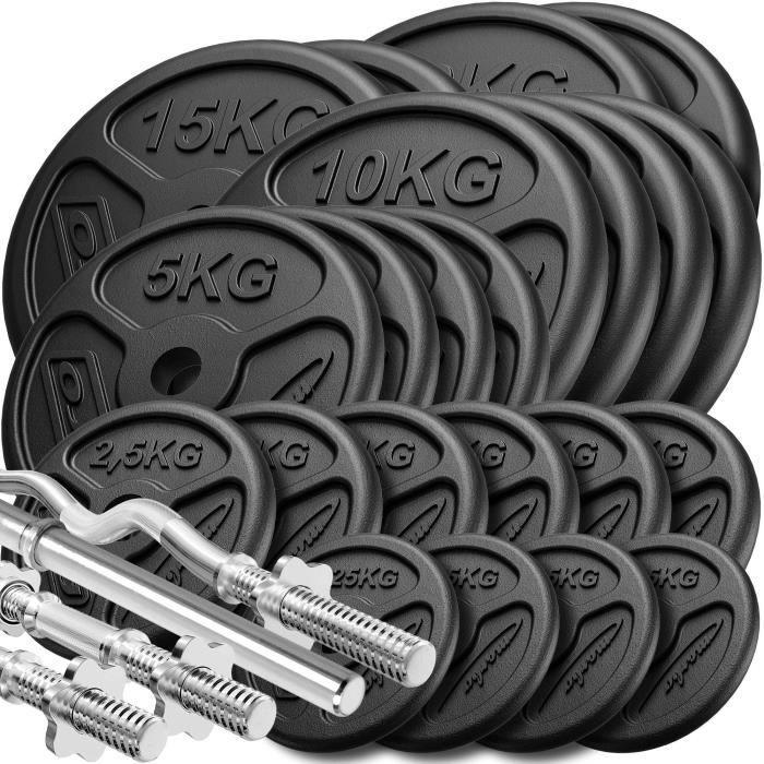 Marbo Sport Set d'haltères renforcés et de poids minces 173 kg - ø30 mm