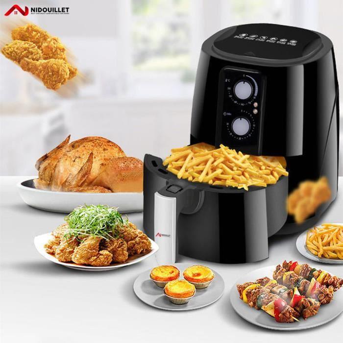 Nidouillet Friteuse Électrique à Air, friteuse à air chaude, 1350W, 200 ° C, format familial 5.5 L, Noir – [Classe énergétique A+]