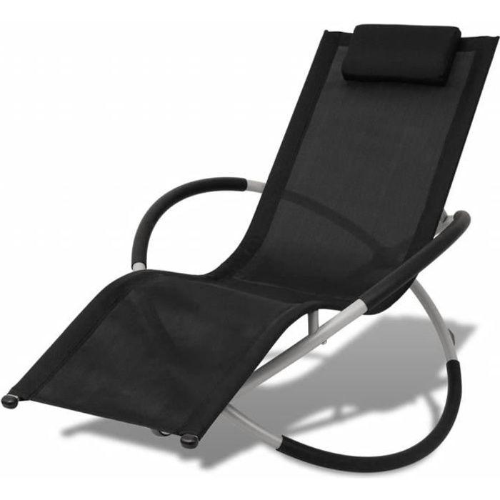 Chaise Longue de Jardin,Chaise Longue pliante,Bain de Soleil Transat géométrique d'extérieur Acier Noir et gris