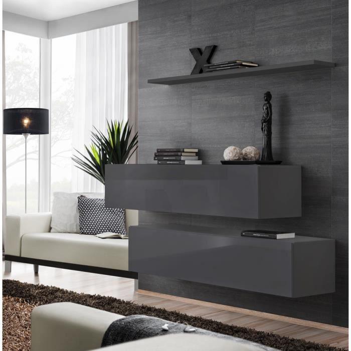 Ensemble meubles de salon SWITCH SBII design, coloris gris brillant. 30 Gris
