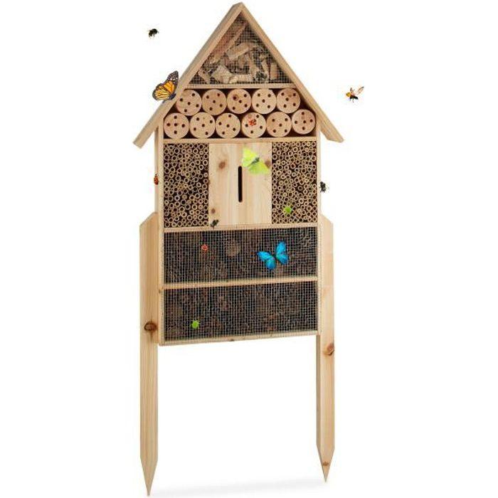Relaxdays Hôtel à insectes sur pied nature XXL abri refuge nichoir maison abeille papillon coccinelles HxlxP: 79 x 49 x 13 cm,