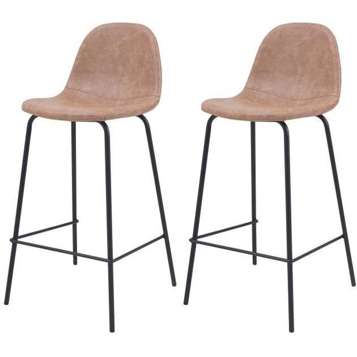 Chaise de bar Henrik taupe 65 cm (lot de 2)