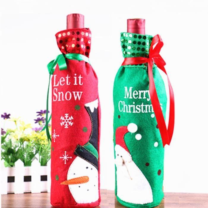 3pcs / set bouteille de Champagne régler le Père Noël bonhomme de neige bouteille sac coffret cadeau vêtements de décoration