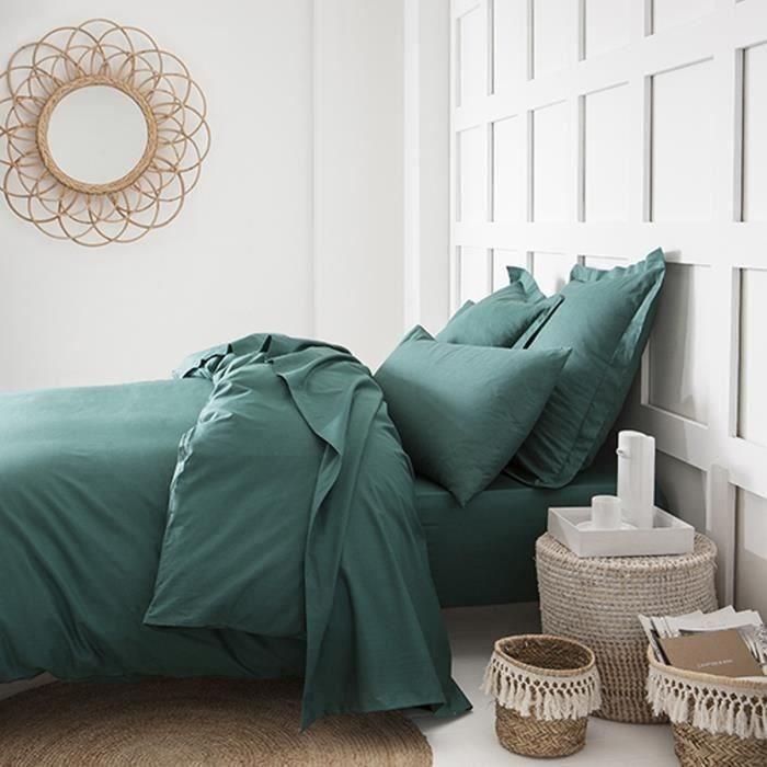 TODAY Drap plat 100% coton - 180x290 cm - Vert émeraude