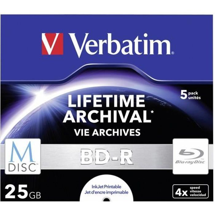 1x5 Verbatim M-Disc BD-R Blu-Ray 25GB 4x Speed,...
