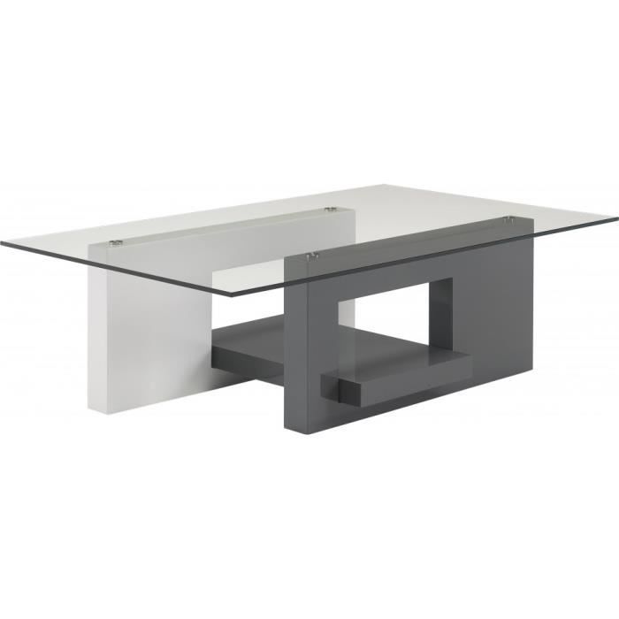 Table basse design laque blanc et gris anthracite plateau for Table basse gris laque