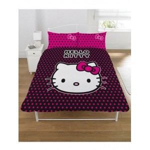 Housse de couette hello kitty candy spot 2 places achat for Housse couette hello kitty