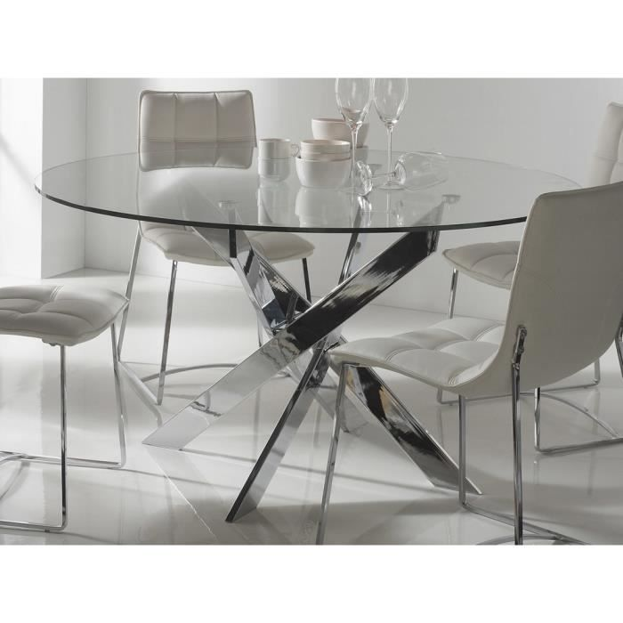 table a manger en verre chrome achat vente pas cher. Black Bedroom Furniture Sets. Home Design Ideas