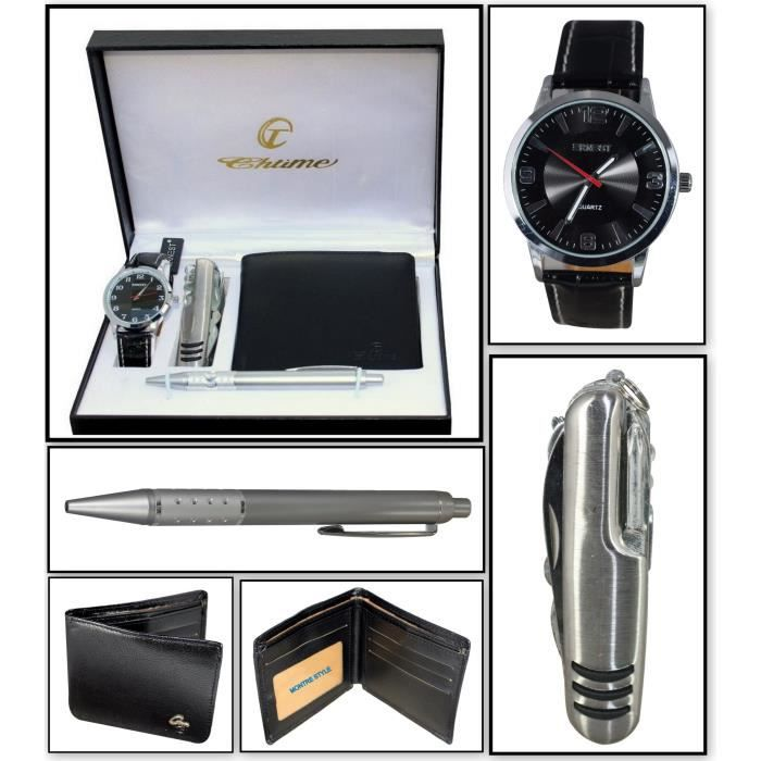 coffret cadeau montre homme portefeuille couteau suisse achat vente pack montre coffret. Black Bedroom Furniture Sets. Home Design Ideas